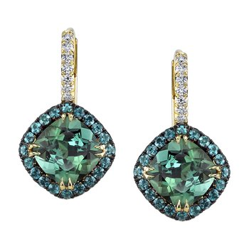 Blue Tourmaline and Diamond Earrings