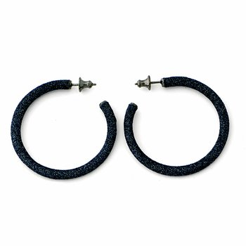 Small Polvere Di Sogni Hoop Earrings - Dark Gray Polvere & Ruthenium