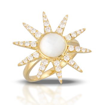 White Orchid Sunburst Diamond Ring 18KY