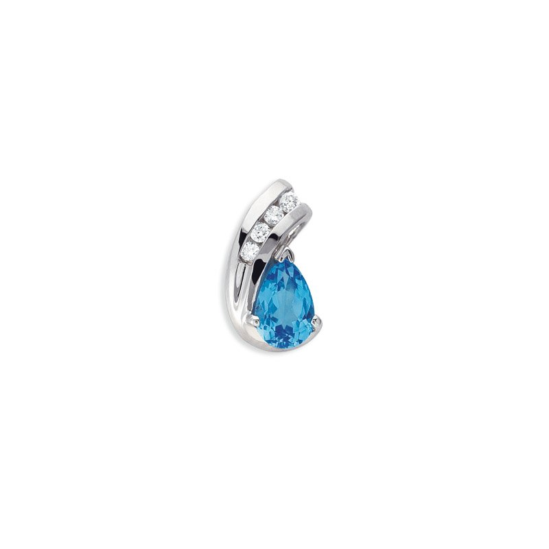 S. Kashi  & Sons Blue Topaz & Diamond Pendant