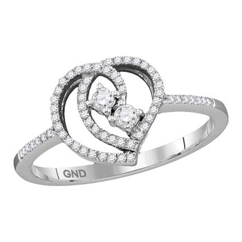 10kt White Gold Womens Round Diamond 2-stone Heart Bridal Wedding Engagement Ring 1/5 Cttw