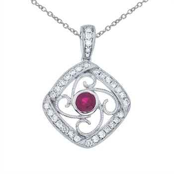 14k White Gold Ruby and Diamond Fashion Pendant