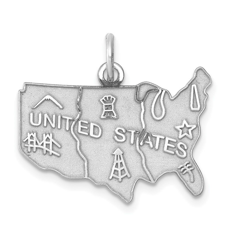 Quality Gold Sterling Silver Rhodium-plated United States Polished Charm