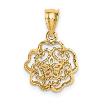 14K Polished Flower Pendant