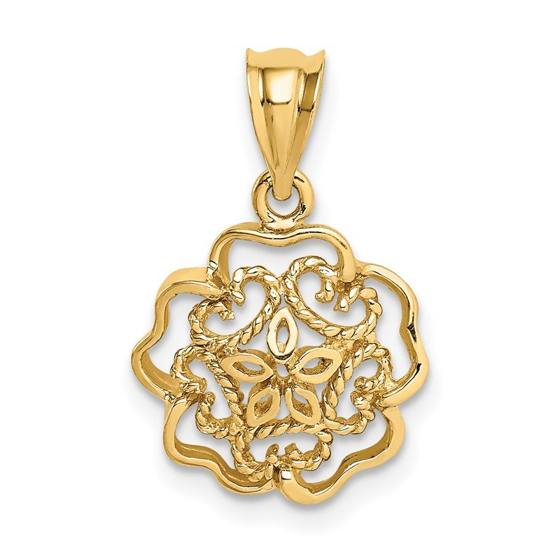 Quality Gold 14K Polished Flower Pendant
