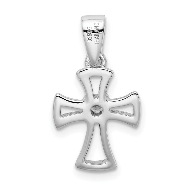 Quality Gold Sterling Silver Rhodium Plated CZ Open Cross Pendant