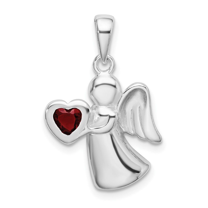 Quality Gold Sterling Silver Angel w/Red CZ Heart Pendant