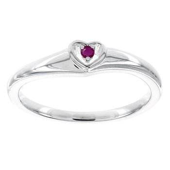 Sterling Silver Round Ruby Heart Promise Ring