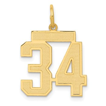 14k Medium Satin Number 34 Charm