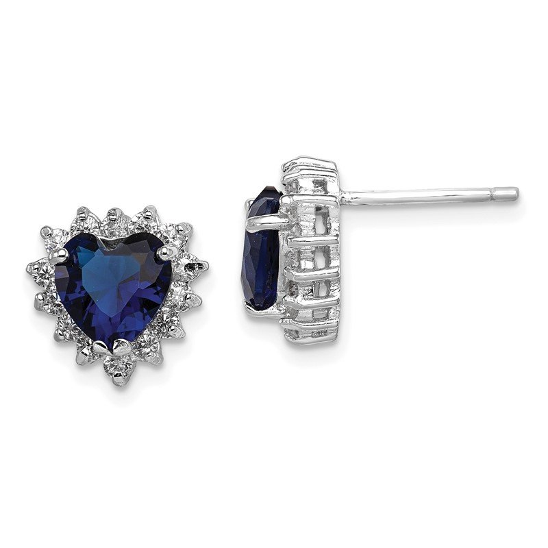 Quality Gold Sterling Silver Dark Blue and Clear CZ Heart Earrings