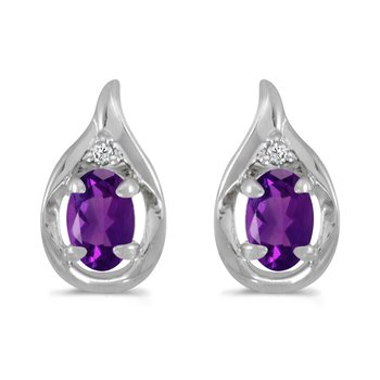 10k White Gold Oval Amethyst And Diamond Earrings