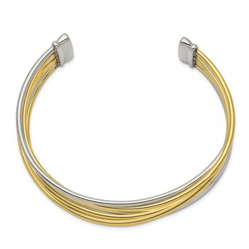 Stainless Steel Polished Yellow IP-plated Twisted Cuff Bangle
