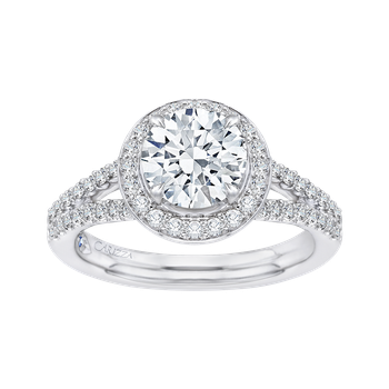 14K White Gold Round Halo Diamond Engagement Ring with Split Shank (Semi-Mount)