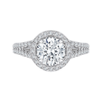 Carizza 14K White Gold Round Halo Diamond Engagement Ring with Split Shank (Semi-Mount)