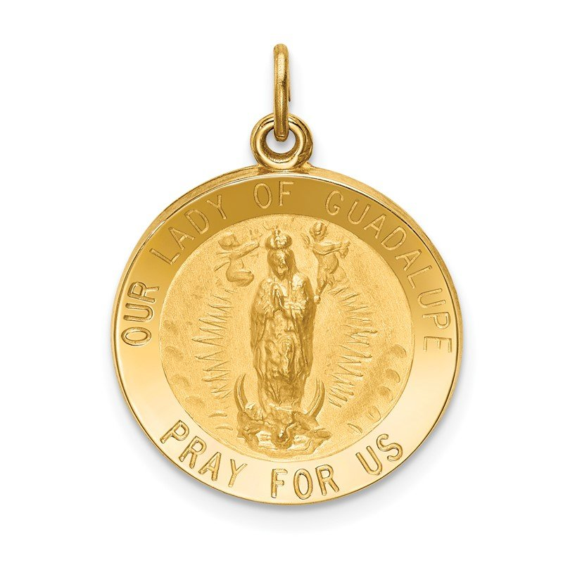 Quality Gold 14k Solid Polished/Satin Round Our Lady of Guadalupe Medal