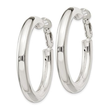 Sterling Silver 5x40mm Omega Back Hoop Earrings