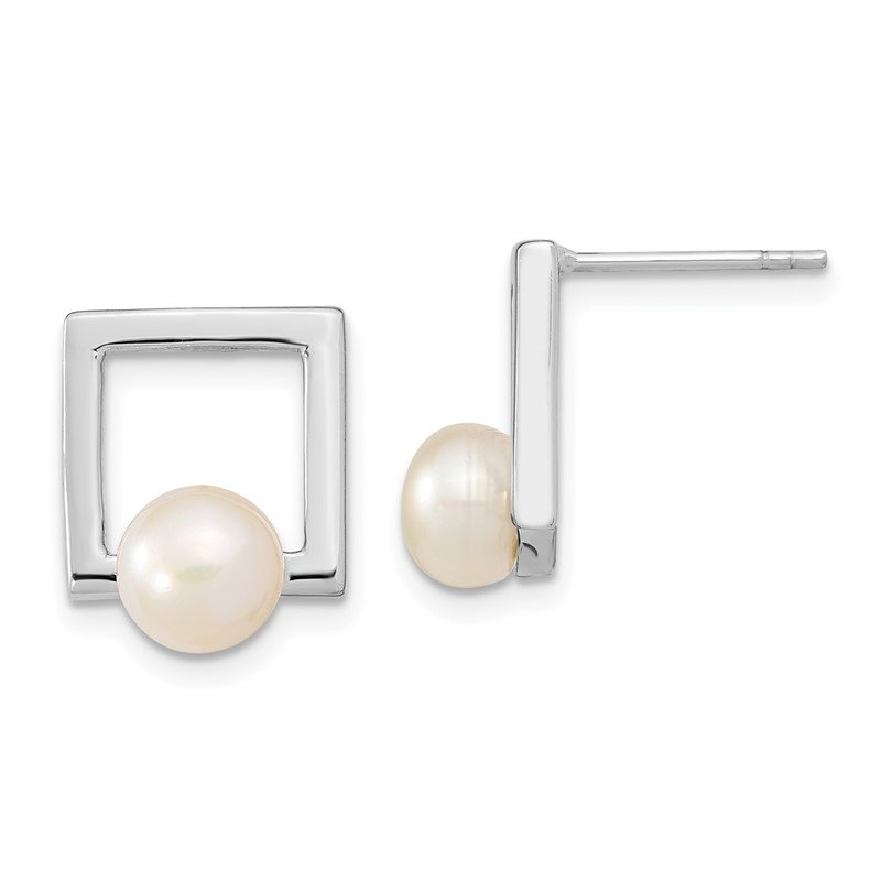 Quality Gold Sterling Silver Rhodium-plated 7-8mm Button FWC Pearl Square Post Earrings