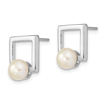 Sterling Silver Rhodium-plated 7-8mm Button FWC Pearl Square Post Earrings