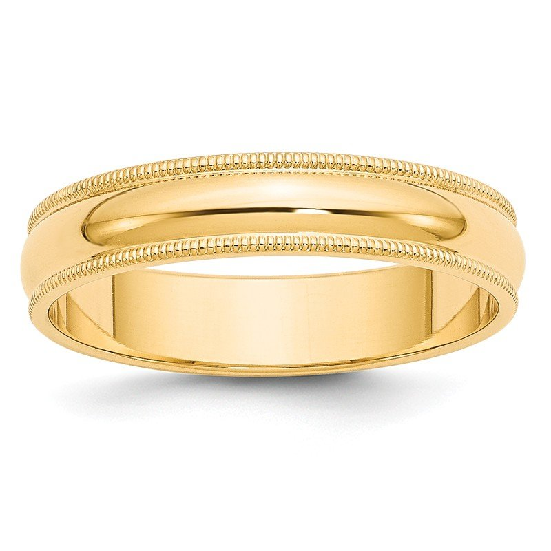 Quality Gold 14k 5mm Milgrain Half-Round Wedding Band