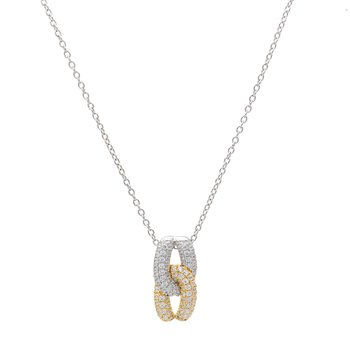 Diamond Two Tone Knot Pendant with Chain