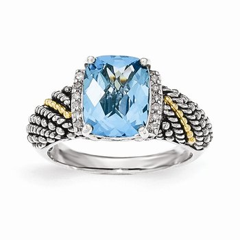 Sterling Silver w/14k Diamond and Blue Topaz Ring