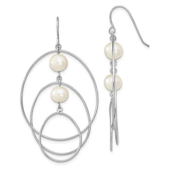 Sterling Silver RH 8-9mm White Round FWC Pearl Hoop Earrings