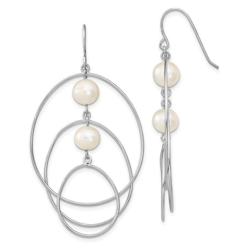 Lester Martin Online Collection Sterling Silver Rhodium-plated 8-9mm White Round FWC Pearl Hoop Earrings