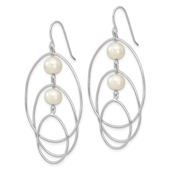 Sterling Silver Rhodium-plated 8-9mm White Round FWC Pearl Hoop Earrings