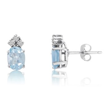 14k White Gold Oval Aquamarine Earrings with Diamonds