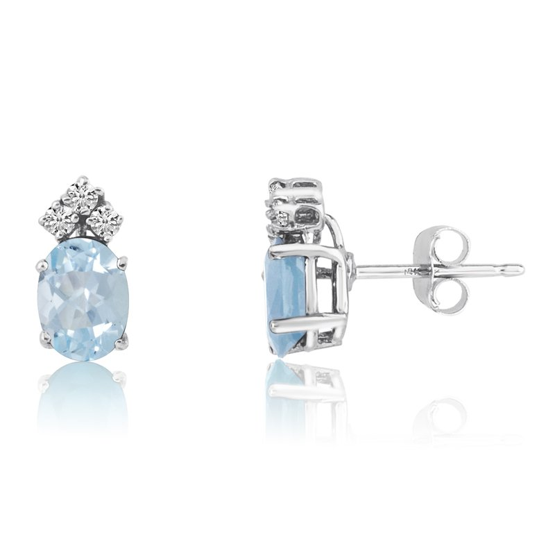 Color Merchants 14k White Gold Oval Aquamarine Earrings with Diamonds