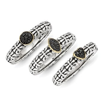 Sterling Silver w/14k Black Diamond 3 Stackable Rings
