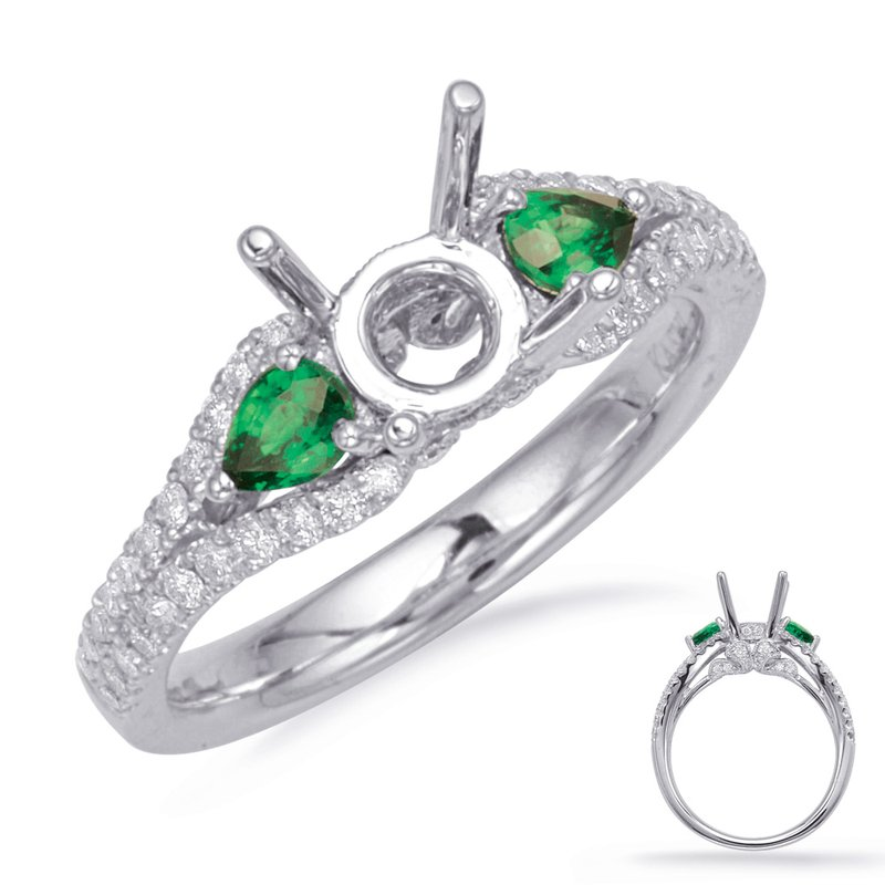 S. Kashi & Sons Bridal White Gold Emerald & Diamond Ring