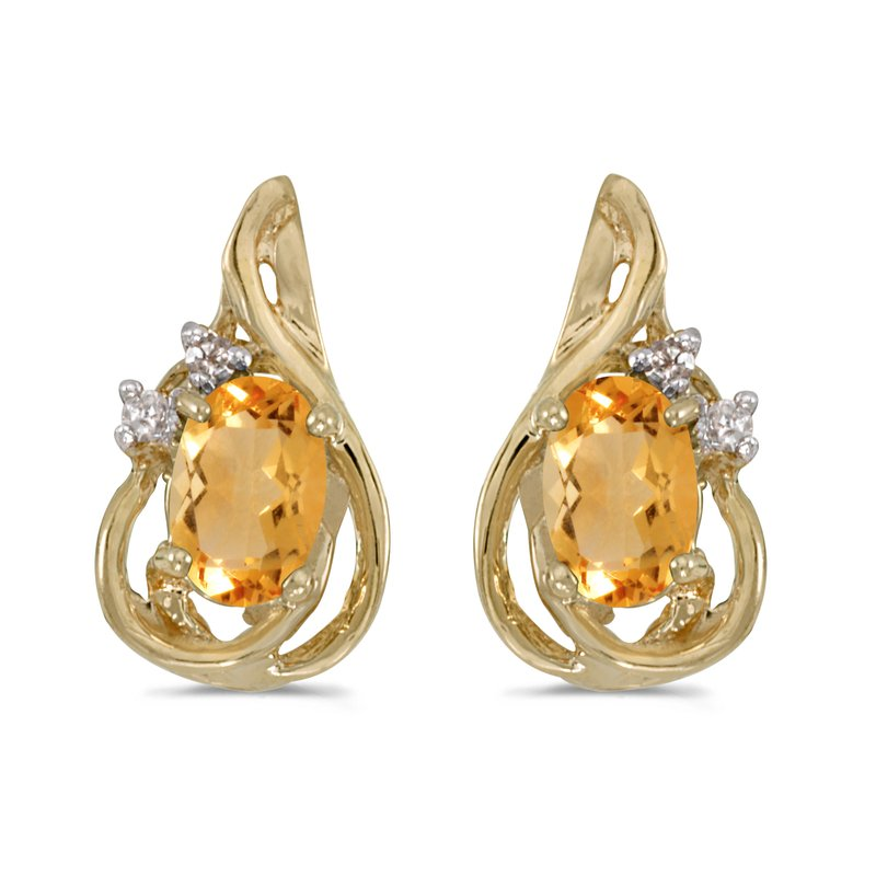 10k Yellow Gold Oval Citrine And Diamond Teardrop Earrings