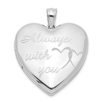 Sterling Silver Rhodium-plated Always With You Ash Holder Heart Locket