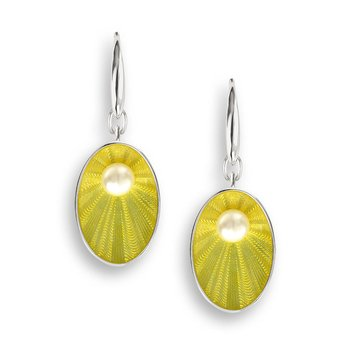 Yellow Oval Wire Earrings.Sterling Silver-Freshwater Pearls