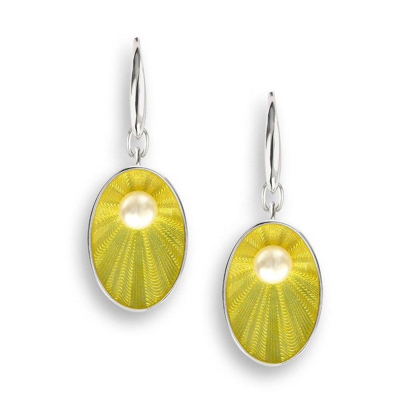 Nicole Barr Designs Yellow Oval Wire Earrings.Sterling Silver-Freshwater Pearls