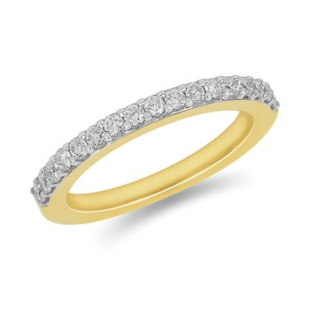 18K YG Diamond Wedding Band in Plate Prong Setting