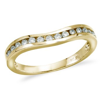 14K Yellow Gold .25 ct Diamond Wave Band Ring