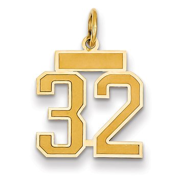 14k Small Satin Number 32 Charm