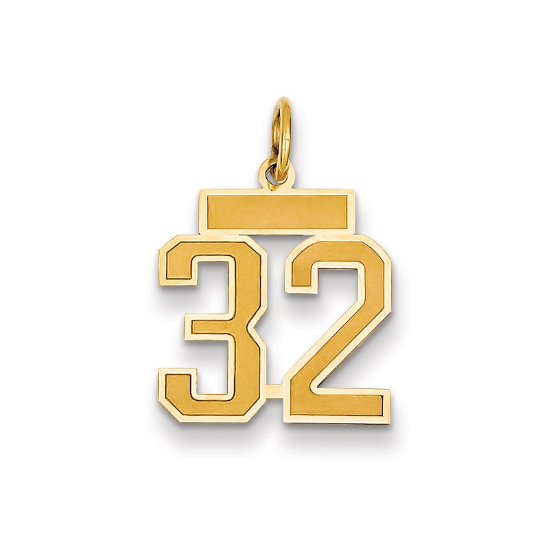 Quality Gold 14k Small Satin Number 32 Charm
