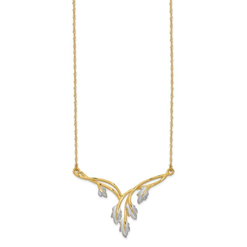 JC Sipe Essentials 14K & White Rhodium Brushed & Diamond-cut Leaf Necklace