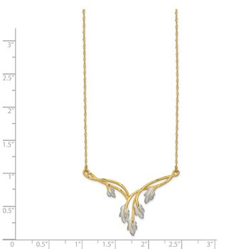 14K & White Rhodium Brushed & Diamond-cut Leaf Necklace
