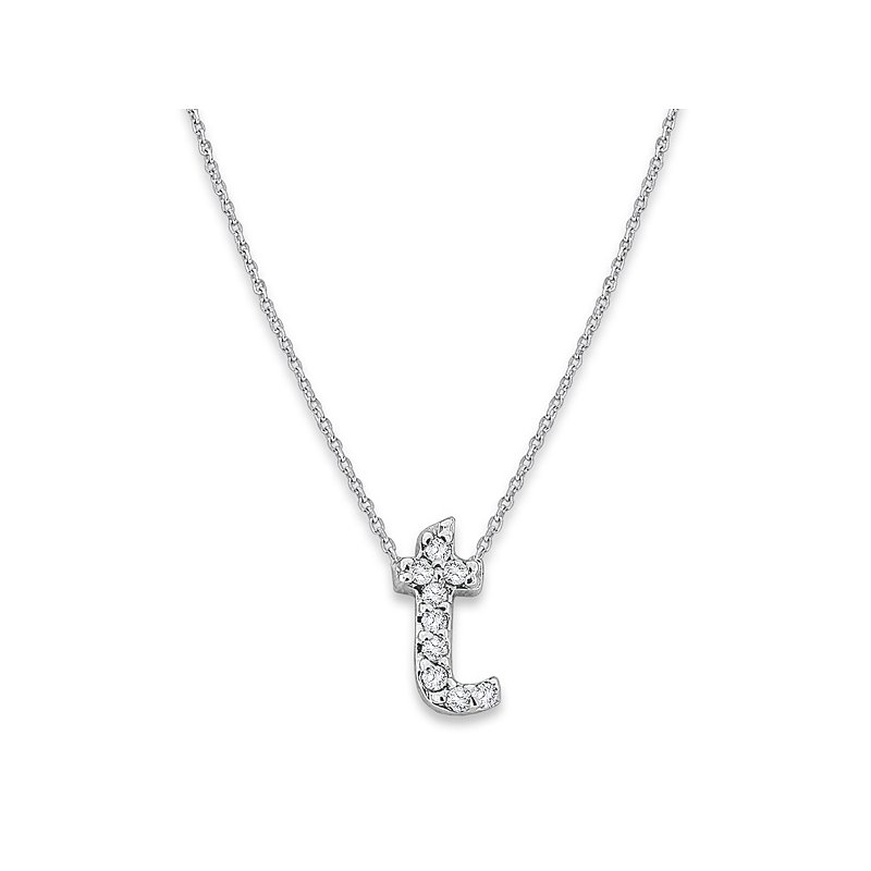 "KC Designs Diamond Baby Typewriter Initial ""T"" Necklace in 14k White Gold with 9 Diamonds weighing .05ct tw."
