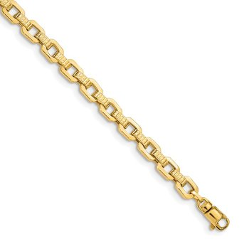 14K Gold Polished & Textured Fancy Link Bracelet
