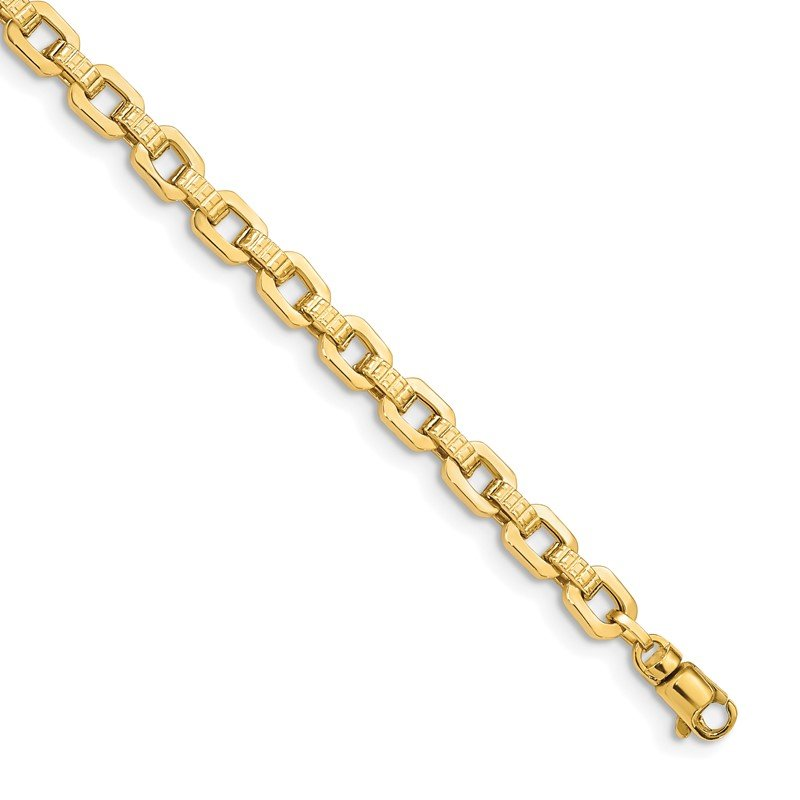 Quality Gold 14K Gold Polished & Textured Fancy Link Bracelet