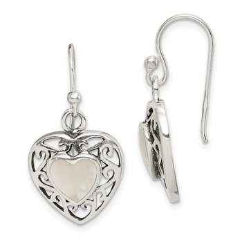 Sterling Silver Antiqued Mother of Pearl Heart Dangle Earrings