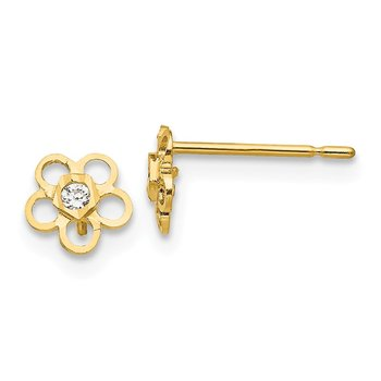 14k Madi K CZ D/C Children's Flower Post Earrings