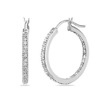 14K WG Diamond Hoops/Huggies Inside Out Ear-rings
