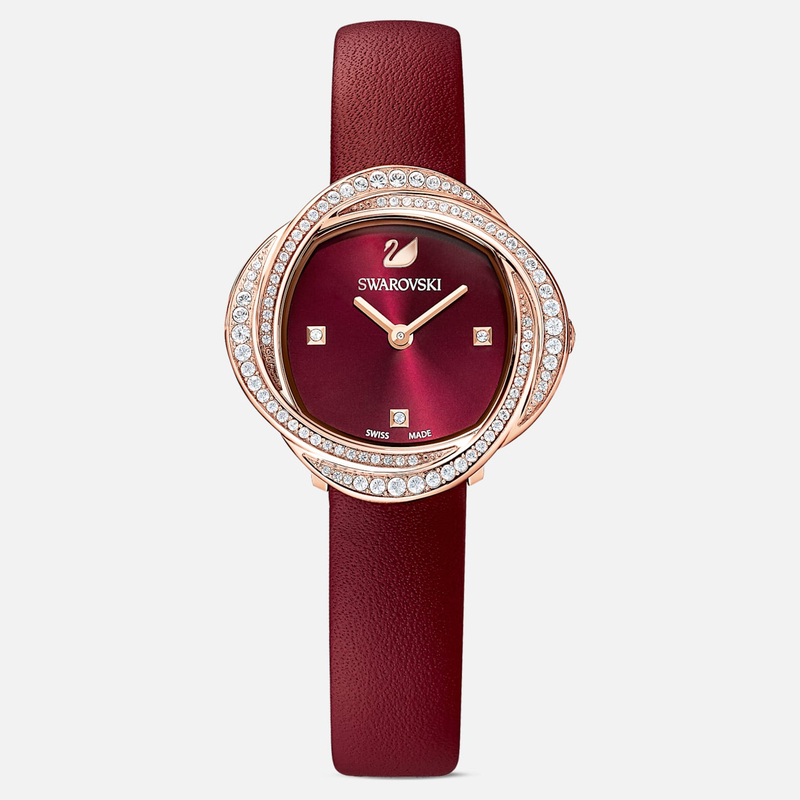 Swarovski Crystal Flower Watch, Leather strap, Red, Rose-gold tone PVD