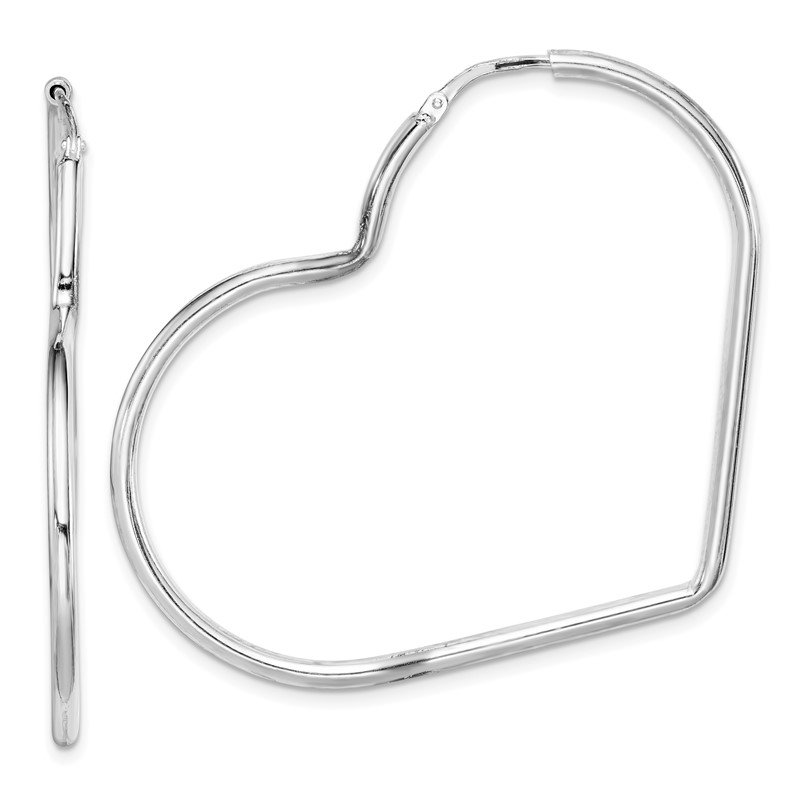 Quality Gold Sterling Silver Rhodium-Plated 2mm Heart Hoop Earrings